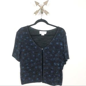Molly Mally Blue Sparkly Cardigan Size 12 petite